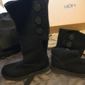 Black Ugg button boots